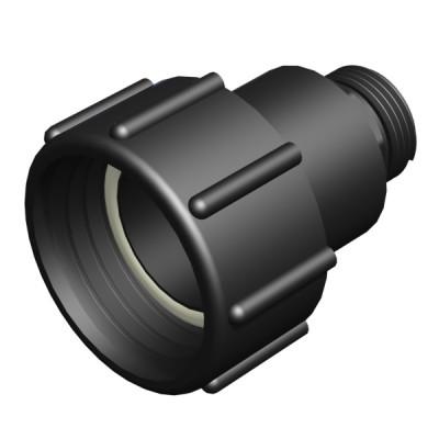 "IBC ADAPTER 360° PP/GF - DN50 S60x6 IG auf 1"" AG BSP (32mm) - drehbar"
