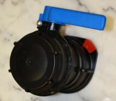 SCHÜTZ Klappenhahn DN80 S100x8 blau  -  mit Öse und Sicherungssplint
