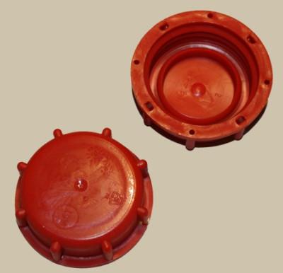 IBC Hahn-Kappe DN50 S60x6 rot  - mit PVC Dichtung