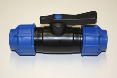 PP Kugelhahn mit beidseitigen Klemmverbindungen 32mm /PP/NBR