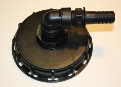IBC Deckel NW150 mit 90° Bogen auf 1 Zoll Schlauchtülle