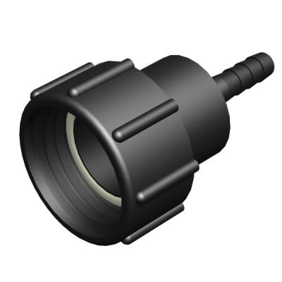 """IBC ADAPTER 360° PP/GF - DN50 S60x6 IG auf Schlauchtülle 1/2"""" (12,5mm) - drehbar"""