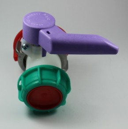 Schütz Klappenhahn DN50 Alu weiss Viton FDA (lila)